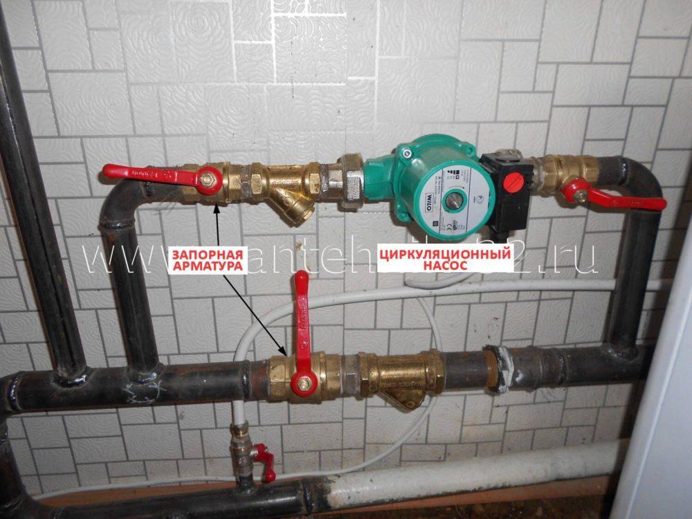 Схема подключения насоса в паровом отоплении