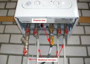Подключение газа и водяных контуров турбированного котла