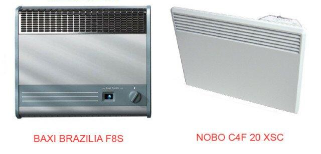 Газовые конвектор Baxi и электрический Nobo