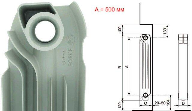 Размеры батареи и необходимые зазоры при установке в нишу