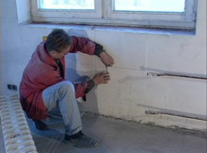 Первоначальная разметка для определения места крепления радиатора
