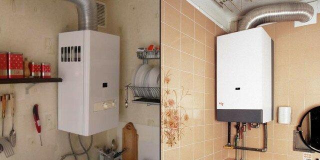Примеры установки проточного бойлера на кухне и в ванной
