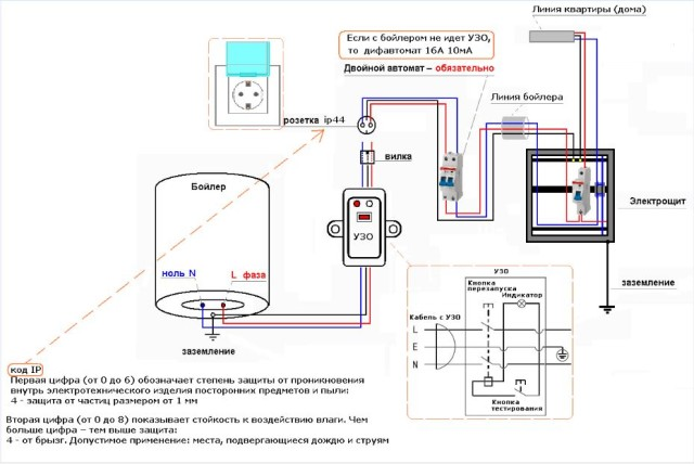 Схема подключения электропитания водонагревателя
