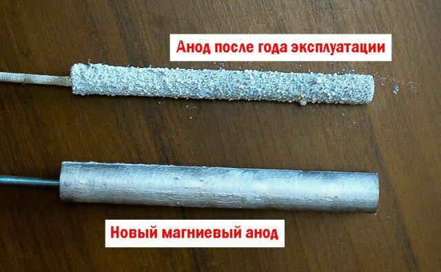 На фото - новый и б/у магниевый анод