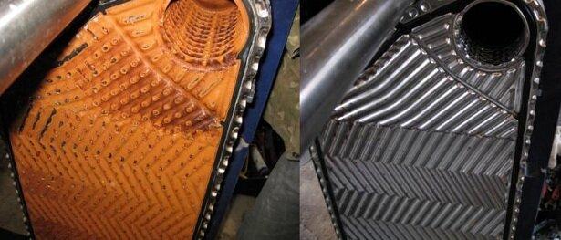 Теплообменник до и после очистки