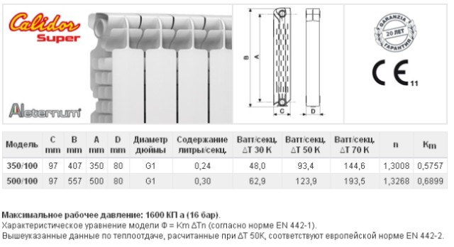 Характеристики радиатора Calidor Super Aleternum