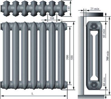 Размеры чугунного радиатора