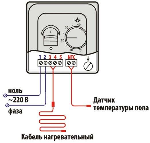 Схема подключения питания, датчика температуры и контура пола к терморегулятору. Схема типовая для большинства моделей терморегуляторов